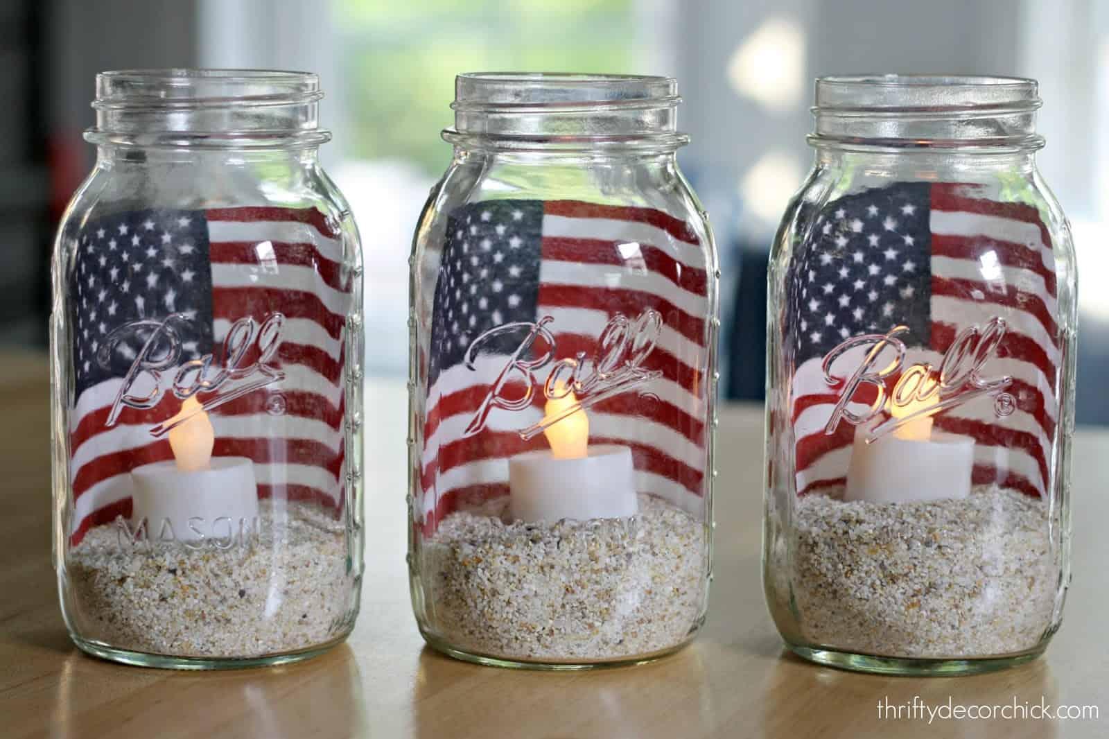 Pots de lanterne sablonneux du 4 juillet