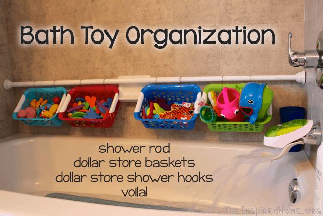 Pvc pipe and basket bath toy organizer