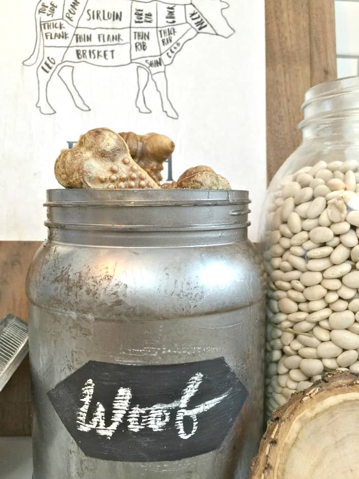 Pots de rangement de cuisine peints métallisés