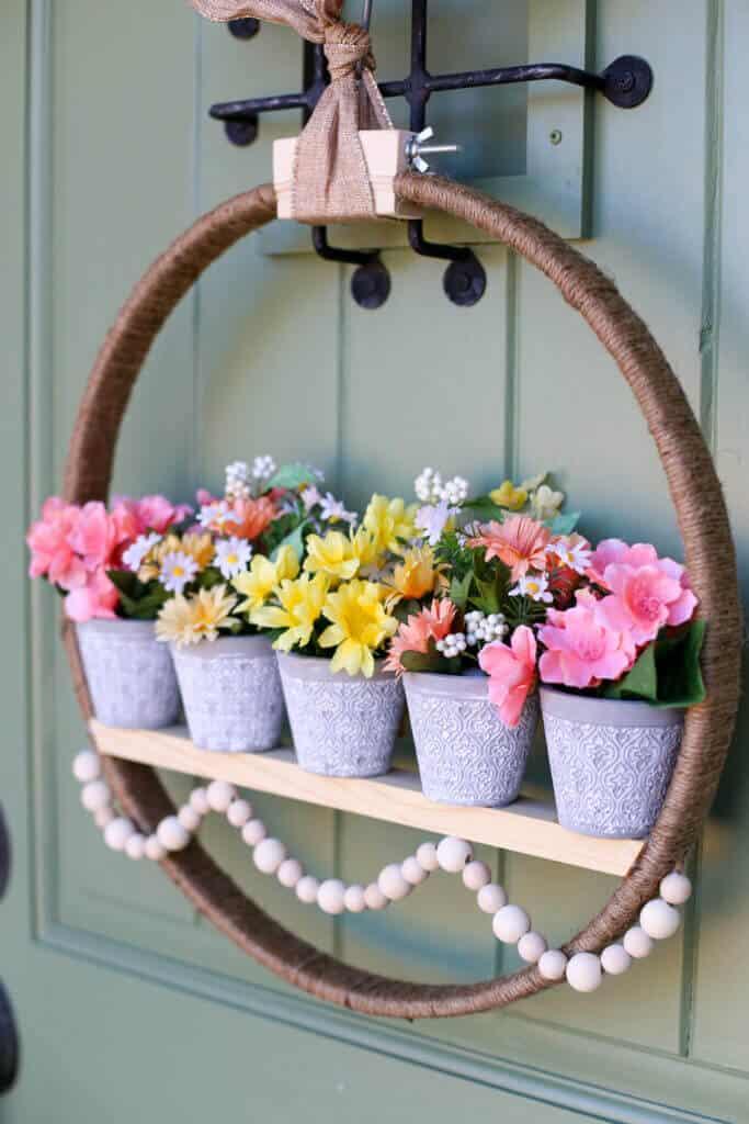 Couronne de porte de jardinière en pot à suspendre en bois et ficelle de jute