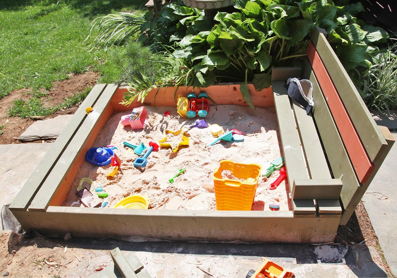 Bac à sable bricolage avec housse de banc