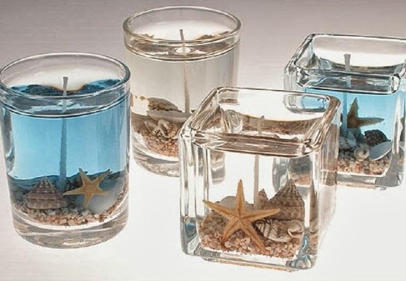 Bougies gelées sable et coquillages