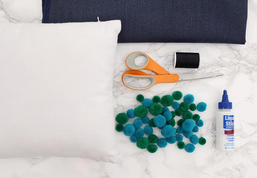 Matériaux de coussin décoratif bricolage à pompons