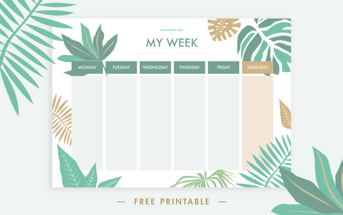 Calendrier imprimable tropical