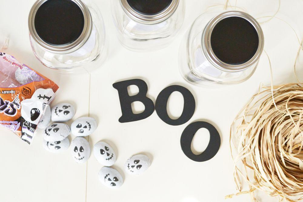 Matériaux de pots de bonbons Halloween Boo