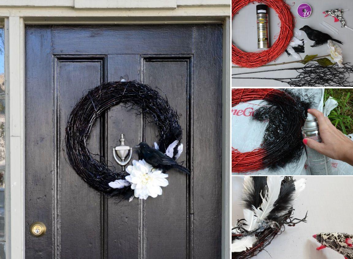 Porte d'entrée noire avec une couronne noire pour Halloween