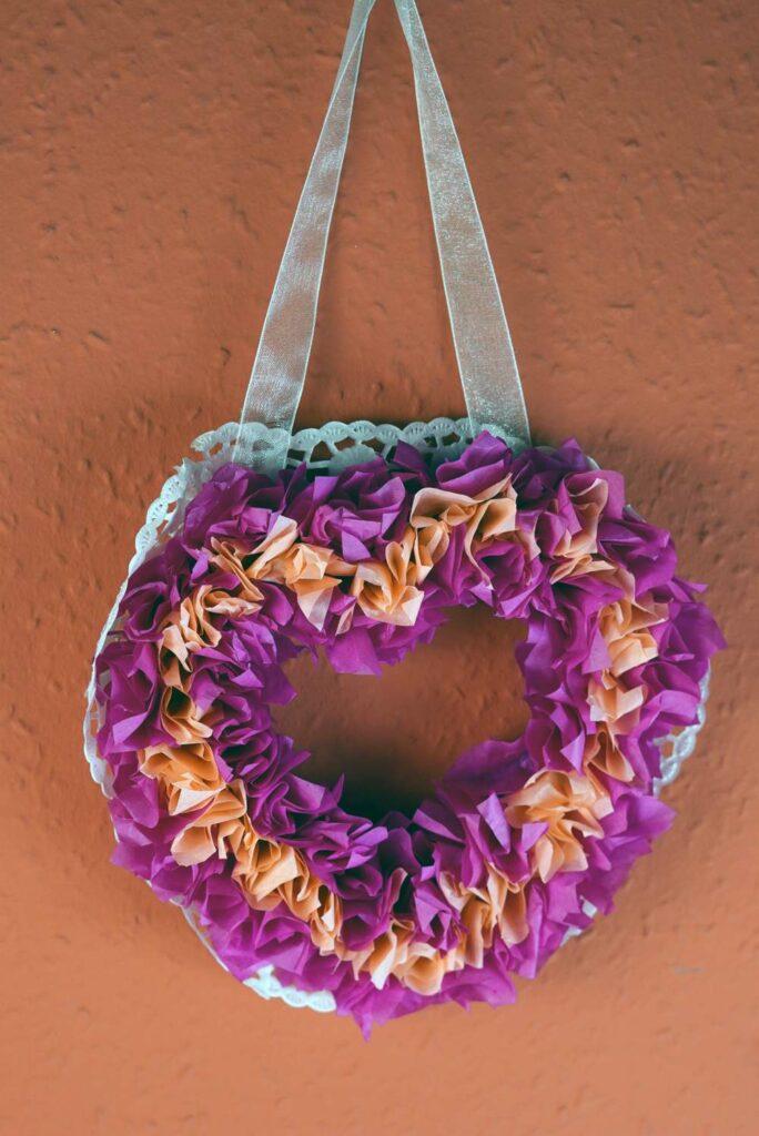 Coeur gonflé en papier de soie bricolage
