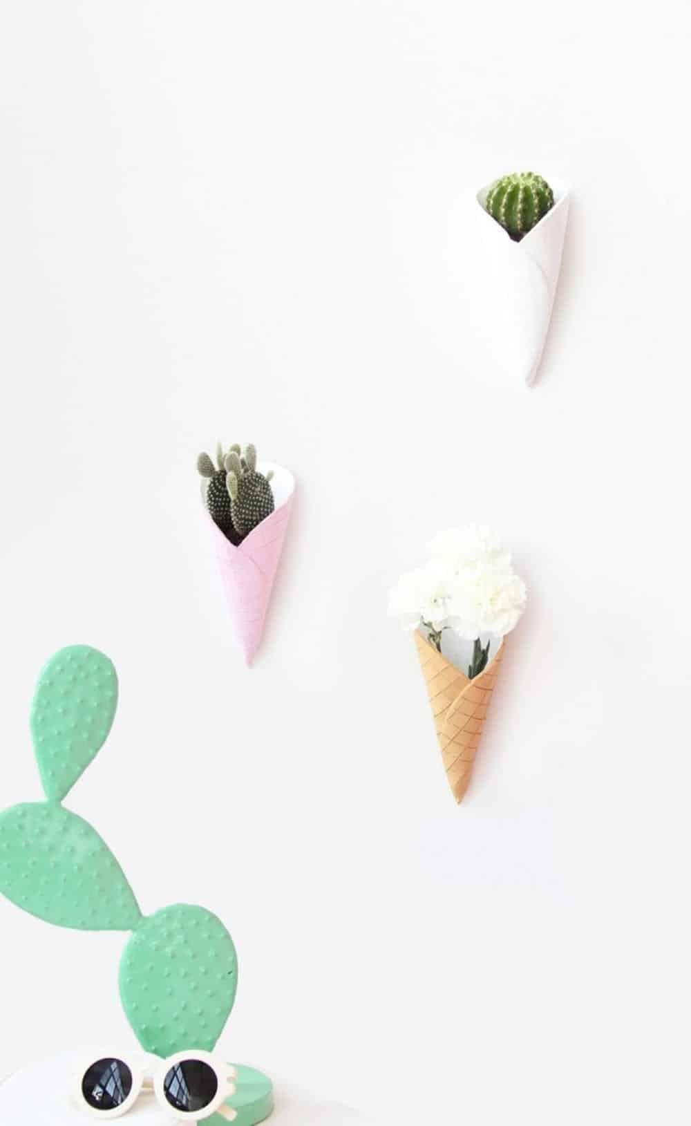 Jardinières murales en cornet de crème glacée bricolage