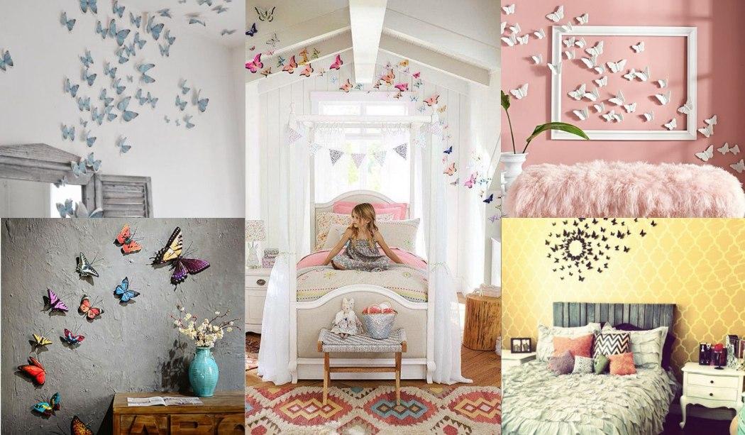 Décoration avec des papillons sur le mur