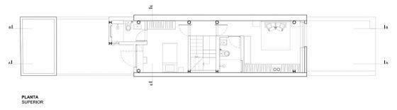 Petit plan de maison étroit à deux étages
