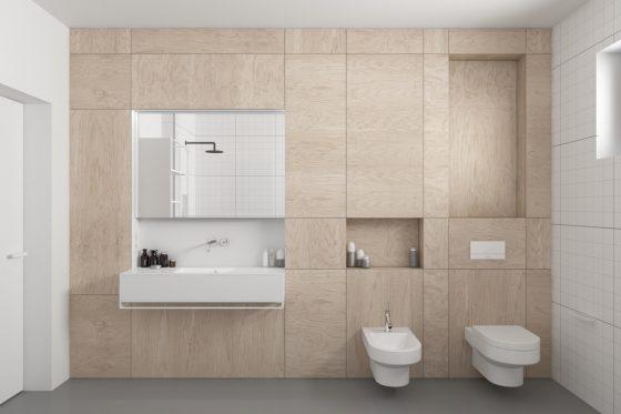 Bois appliqué sur un mur de salle de bain simple