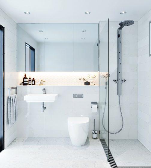 Petite salle de bain unicolore