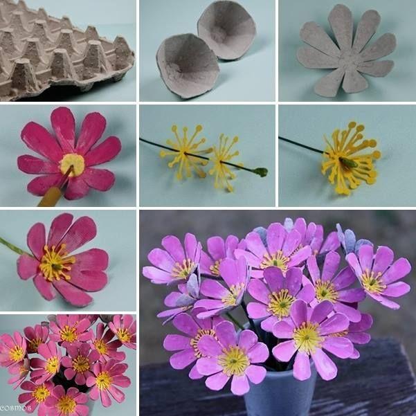 Meilleures idées pour faire des fleurs avec une boîte à œufs toutes les étapes