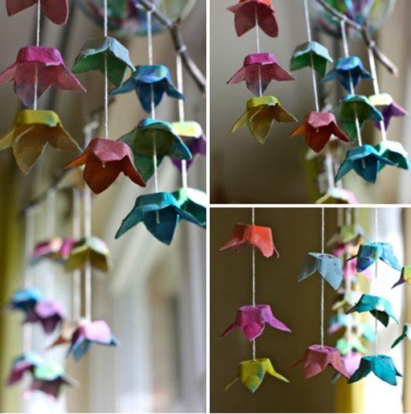 Meilleures idées pour faire des fleurs en carton d'oeufs suspendus des fleurs