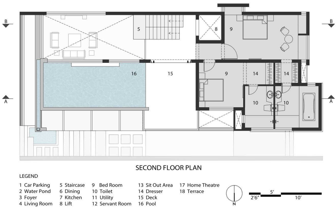 Plan de maison à deux étages niveau 2