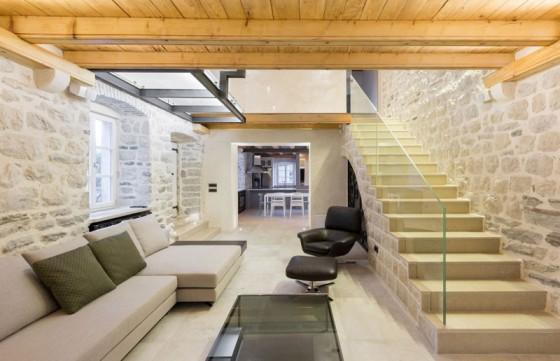 Conception de salon de maison rustique et moderne