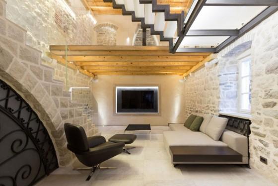 Design d'intérieur de salon rustique - moderne