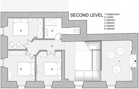 Plan d'une petite maison en pierre de trois étages