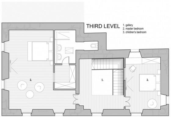 Plan du troisième étage d'une petite maison en pierre