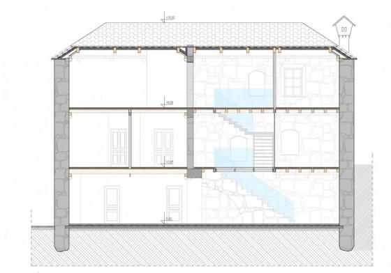 Plan en coupe d'une maison en pierre de trois étages