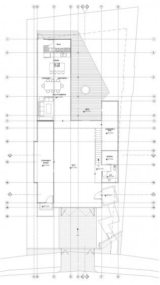 Plan d'étage de la maison construite avec des conteneurs au premier étage