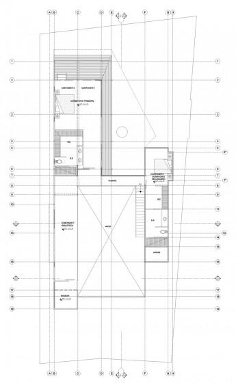 Plan de maison construit avec des conteneurs au deuxième étage