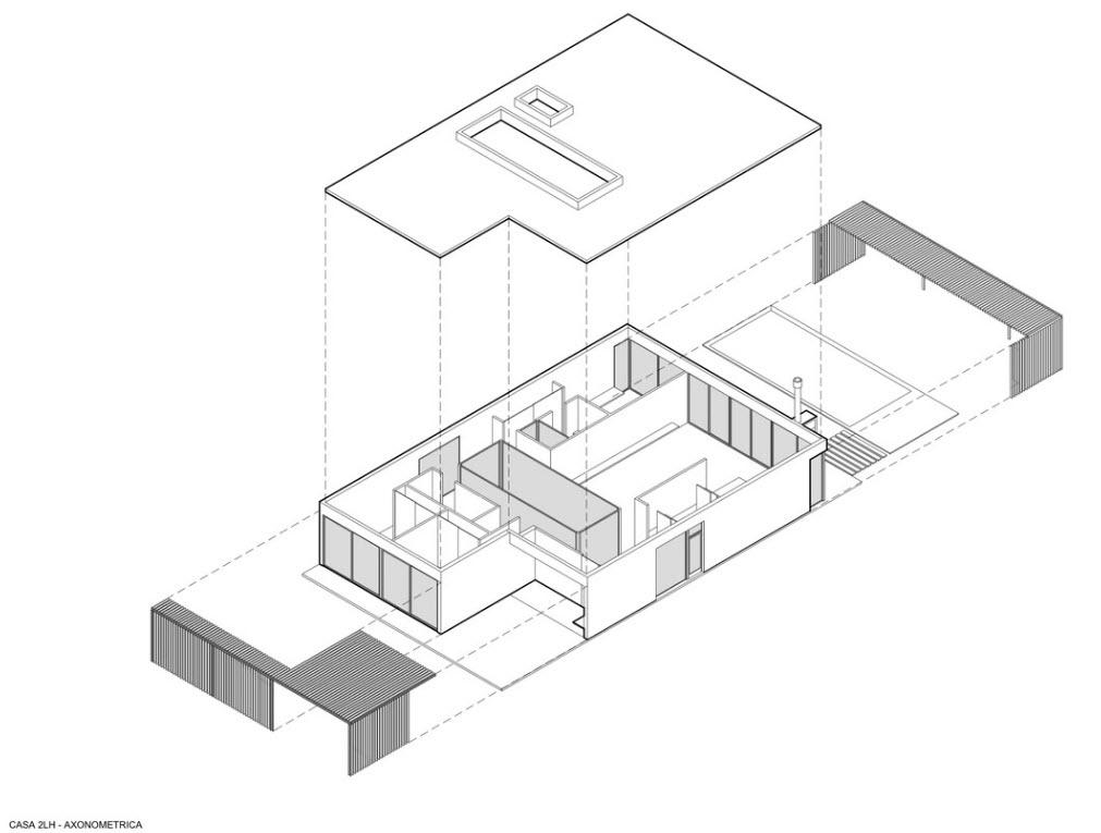 Plan axonométrique maison d'un étage