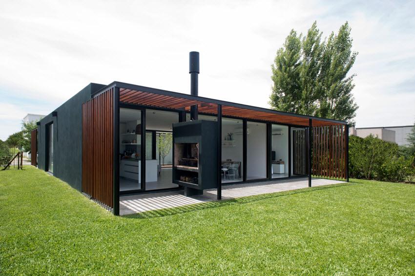 Conception de maison moderne en béton d'un étage en bois