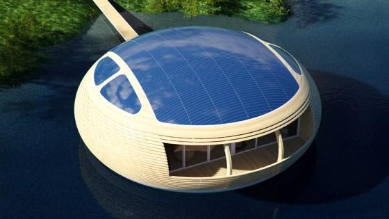 Panneaux solaires de maison écologique circulaire