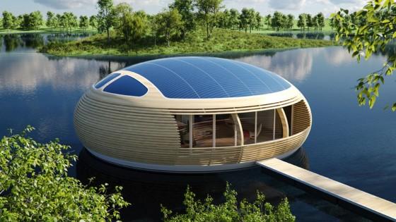 Conception de maison flottante écologique et recyclée