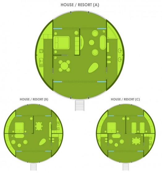 Plans de maisons circulaires écologiques flottantes