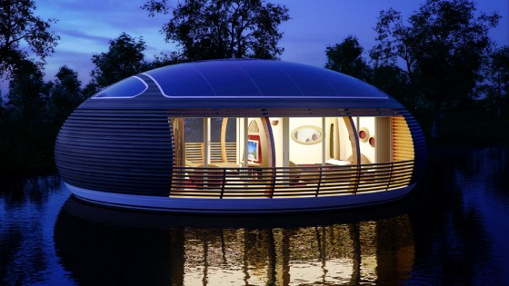 Maison flottante écologique recyclée par ncohe