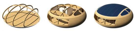 Structure de maison circulaire construite en bois