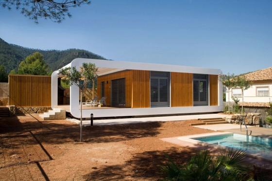 Façade de maison écologique