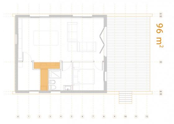 Plans d'une petite maison écologique de 96 m²