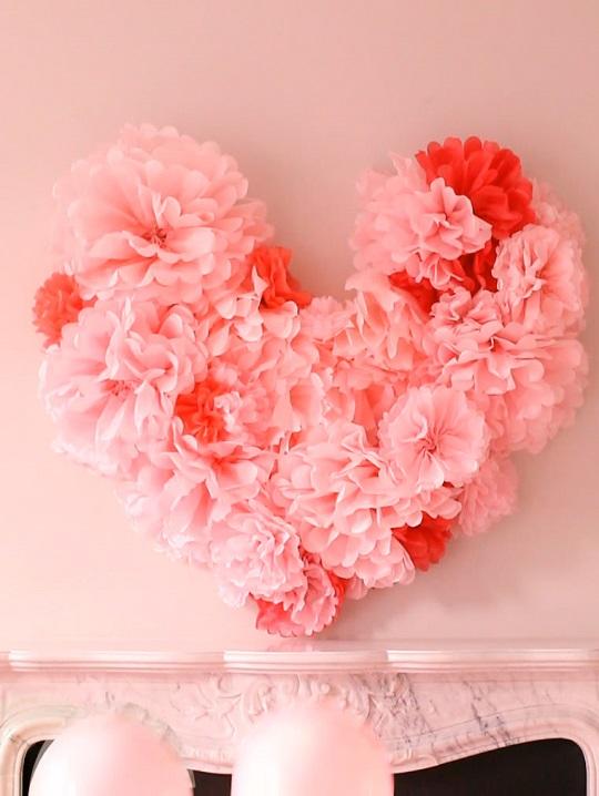 Coeur de papier de soie de la Saint-Valentin