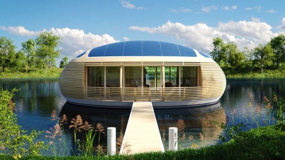 Façade de maison en bois écologique de forme circulaire