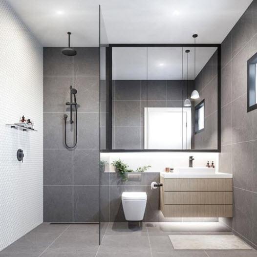 Petite salle de bain avec céramique grise
