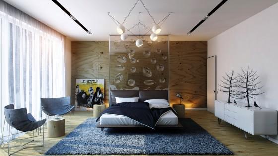 Design de chambre moderne avec objets décoratifs et tapis