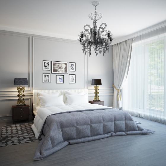 Conception de chambre moderne avec lustre