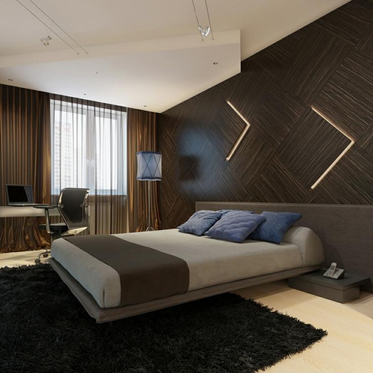 chambre à coucher - murs décorés de façon moderne