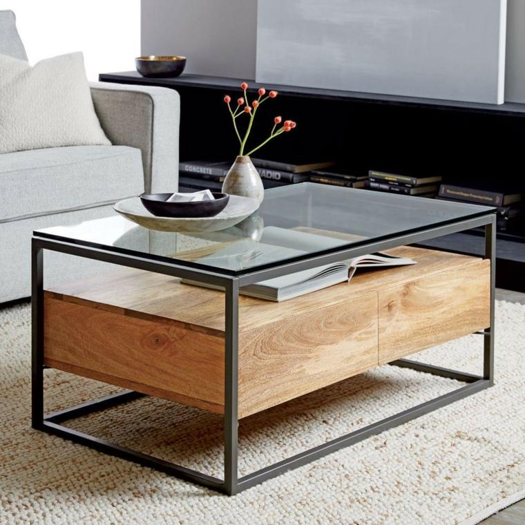 tables basses-design-verre-bois