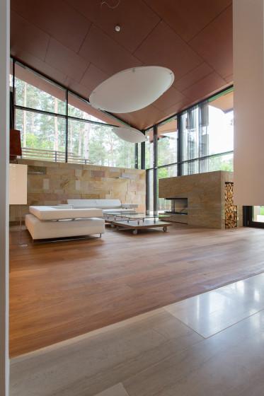 Conception de salon avec cheminée moderne