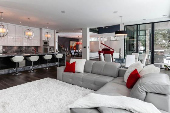 Salon moderne et design de cuisine et salle à manger, avec des finitions de luxe