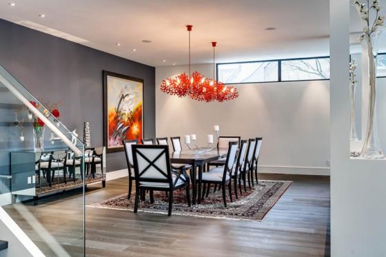 Décoration intérieure de salle à manger avec plafonniers