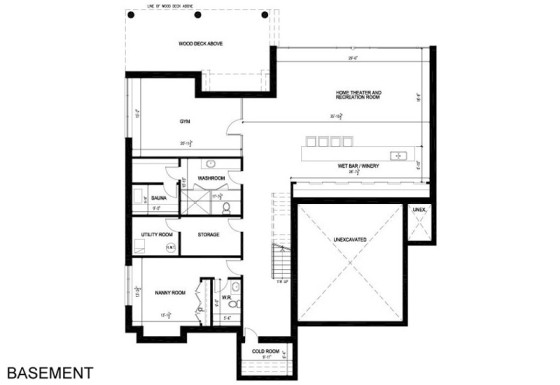 Plans de sous-sol de maison à deux étages