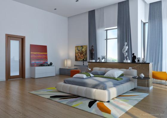 Grand design de chambre moderne