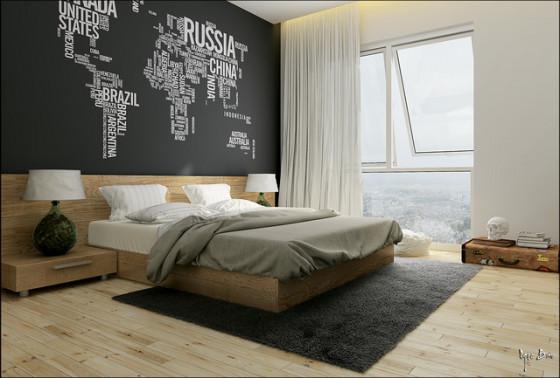 Conception de chambre moderne avec mur de lettres