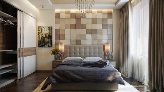 Conception de la chambre avec un mur en bois à la tête du lit