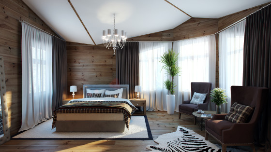 Conception de chambre avec murs et sol en bois de style classique